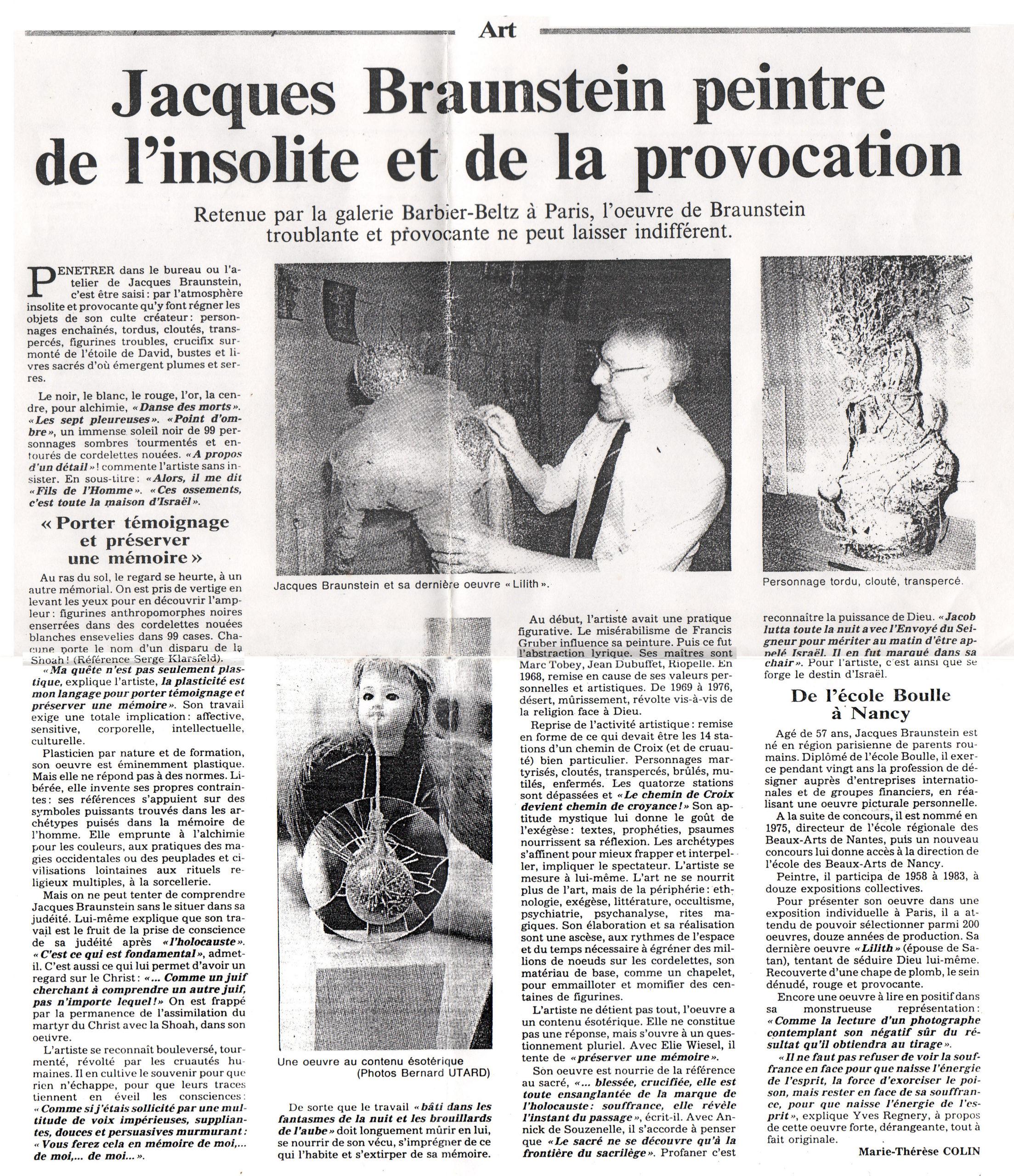 Revue de Presse - Marie-Thérèse Colin - Janvier 1989 - L'Est Républicain